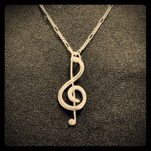 Handmade sterling silver treble clef necklace